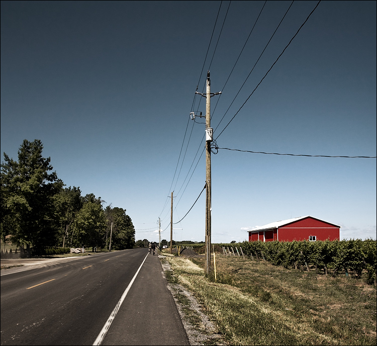 poles, wires and red barn || canon5D/EF17-40L@17 | 1/1000s | f5.6 | ISO320 | biking