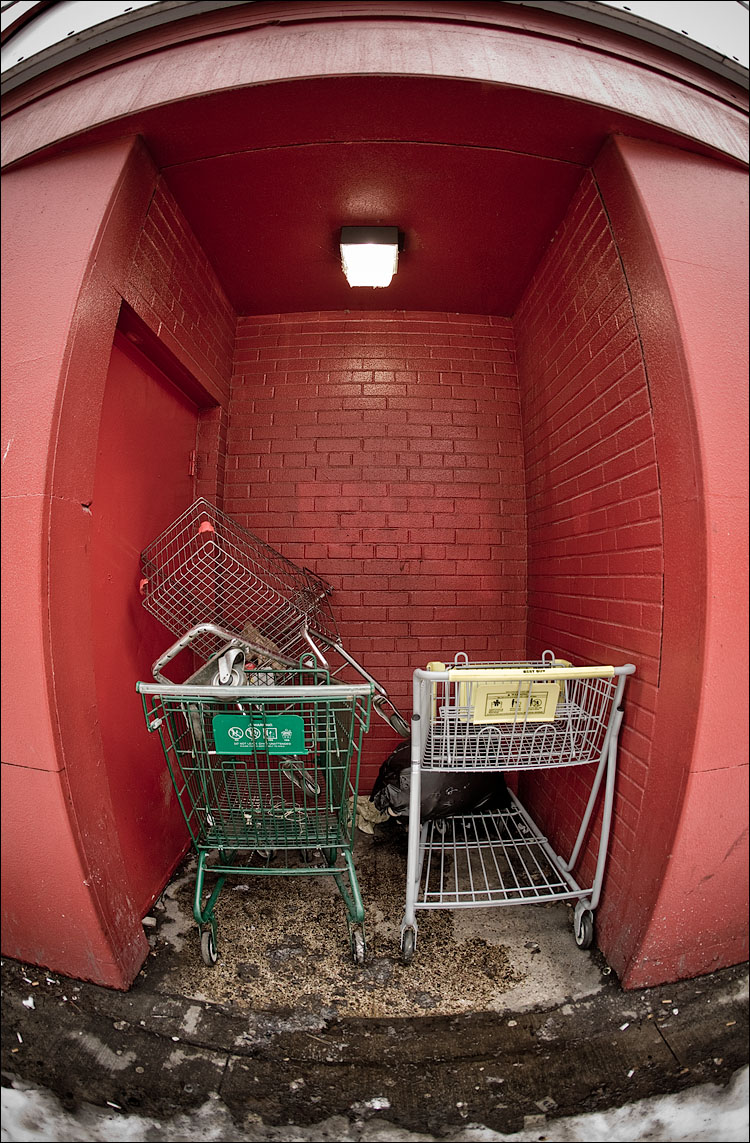 carts on red || Canon5D/EF15fisheye | 1/50s | f3.5 | ISO200 | Handheld