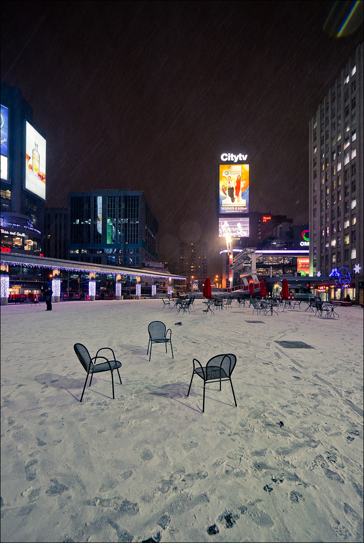 Chairs in Snow || Panasonic GH2/Lumix7-14@7 | 1/20s | f4 | ISO320