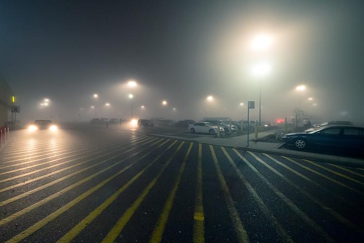 Foggy Parking Lot    Panasonic GX1/Lumix 7-14@7   1/50s   f4   ISO1600