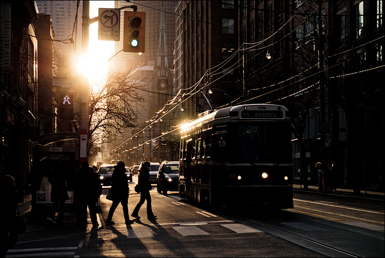 Sun and the Streetcar || Panasonic GX1/X14-42@42 | 1/400s | f8 | ISO160