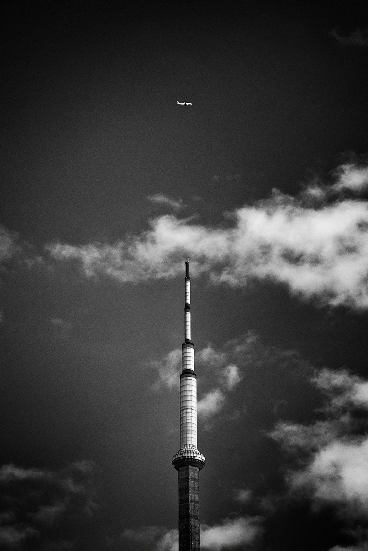 Tower and Airplane || Panasonic GX1/Lumix 14-140@73 | 1/500s | f9 | ISO160