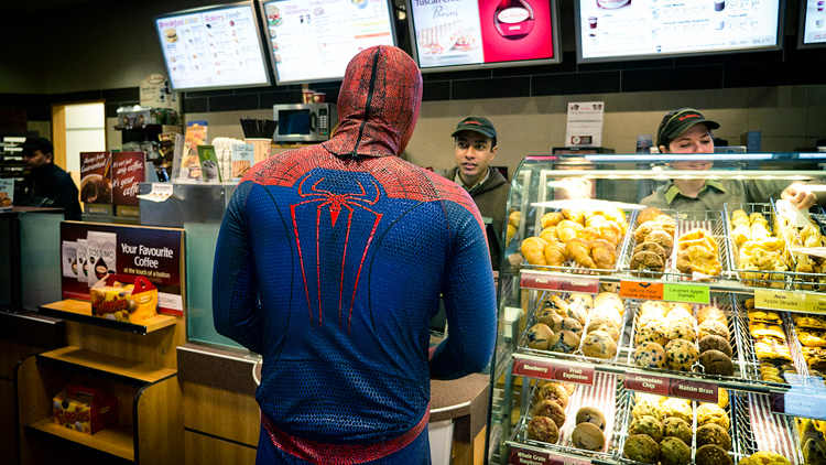 Spiderman at Tim Hortons || PanasonicGX1/Lumix12-35