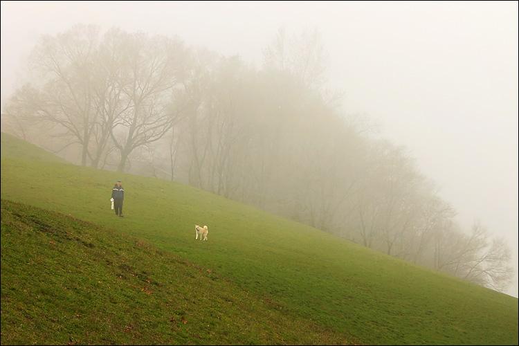 dog walker in fog || canon 300d/kit lens | 1/160s | f9 | ISO 100 | handheld