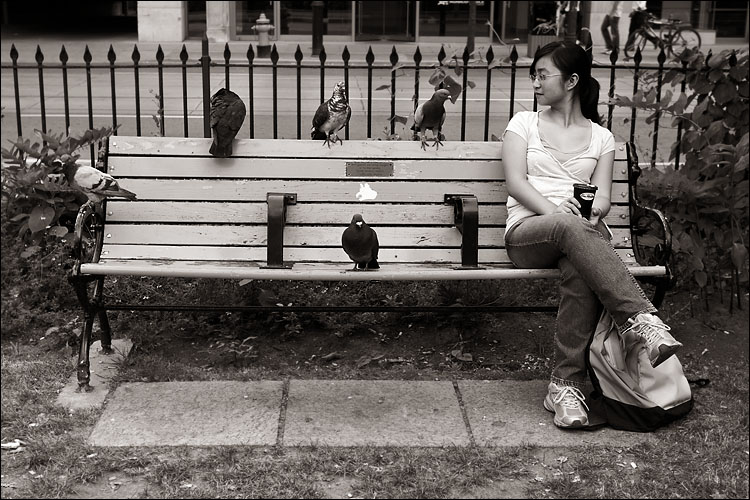 pigeons and the girl || canon 350d/ef17-40L@33 | 1/60s | f5.6 | iso100 | handheld