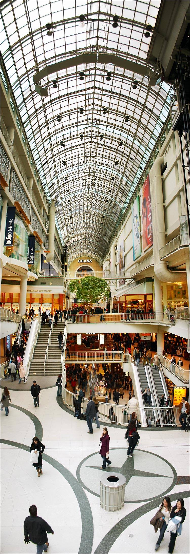 tall eaton center || canon 300d/ef-s 18-55 | 1/40s/f4 + 1/80s/f5.6 | ISO 200 | handheld